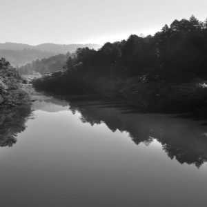 Russian River in Healdsburg, CA Black and White