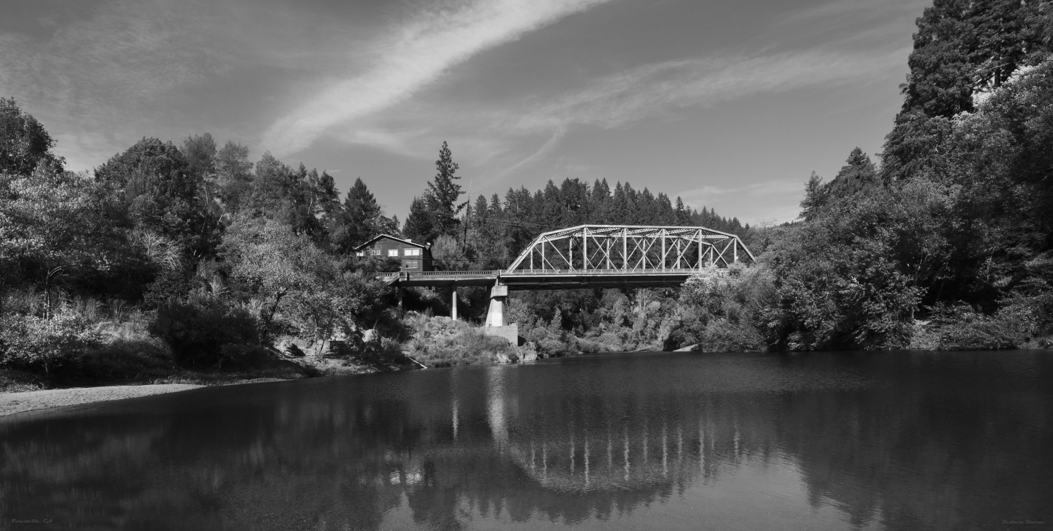 Russian River Hacienda Bridge, Forestville, CA Black and White