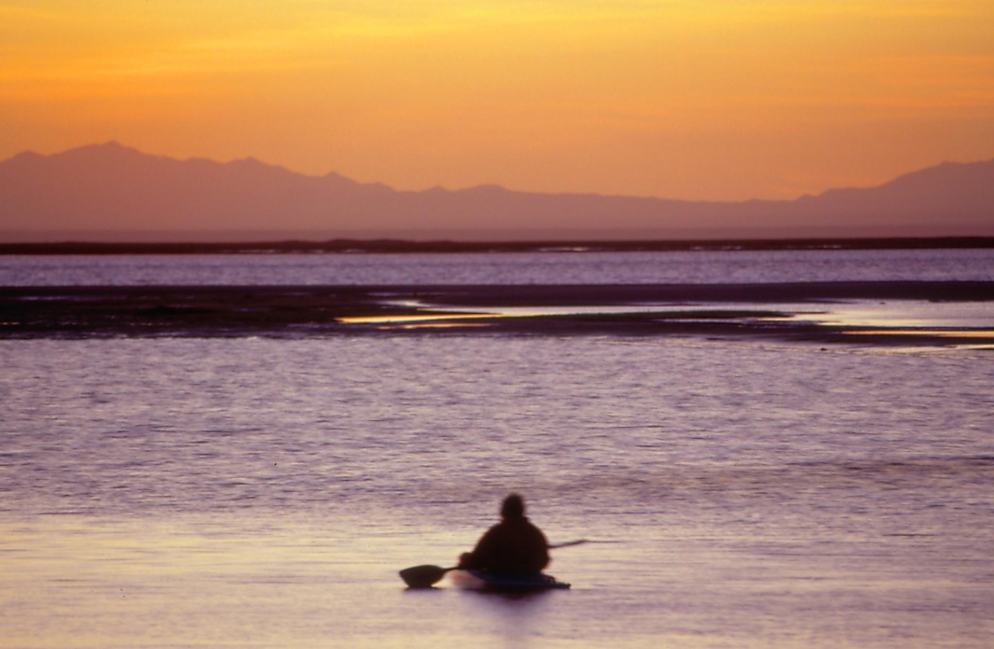 Kayacker at sunset
