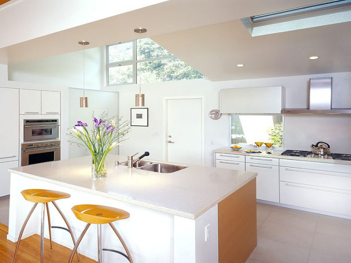 Clean, white, modern kitchen