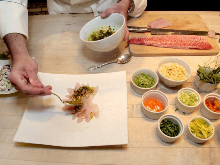 preparing sashimi dinner