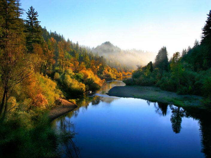 Landscape,russian river, autumn river scene