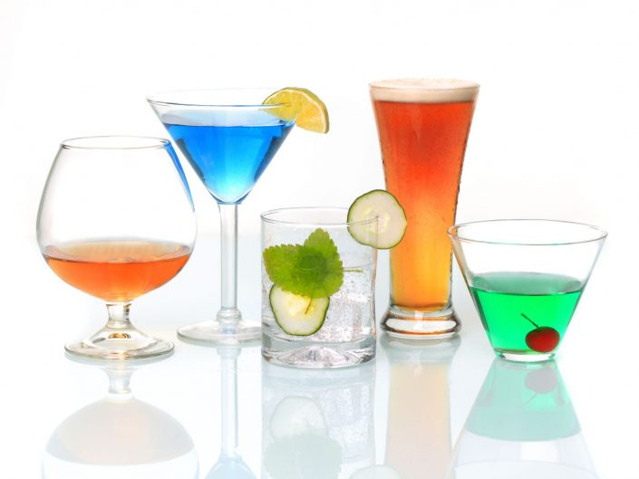 cocktails and white background