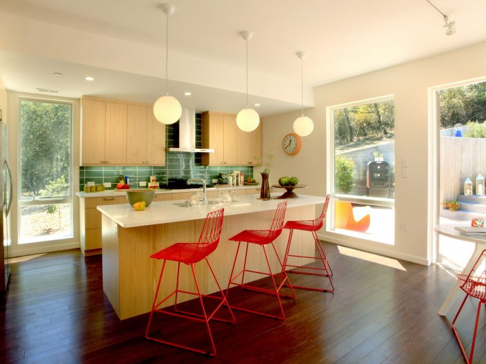 Kitchen Bar with red stools
