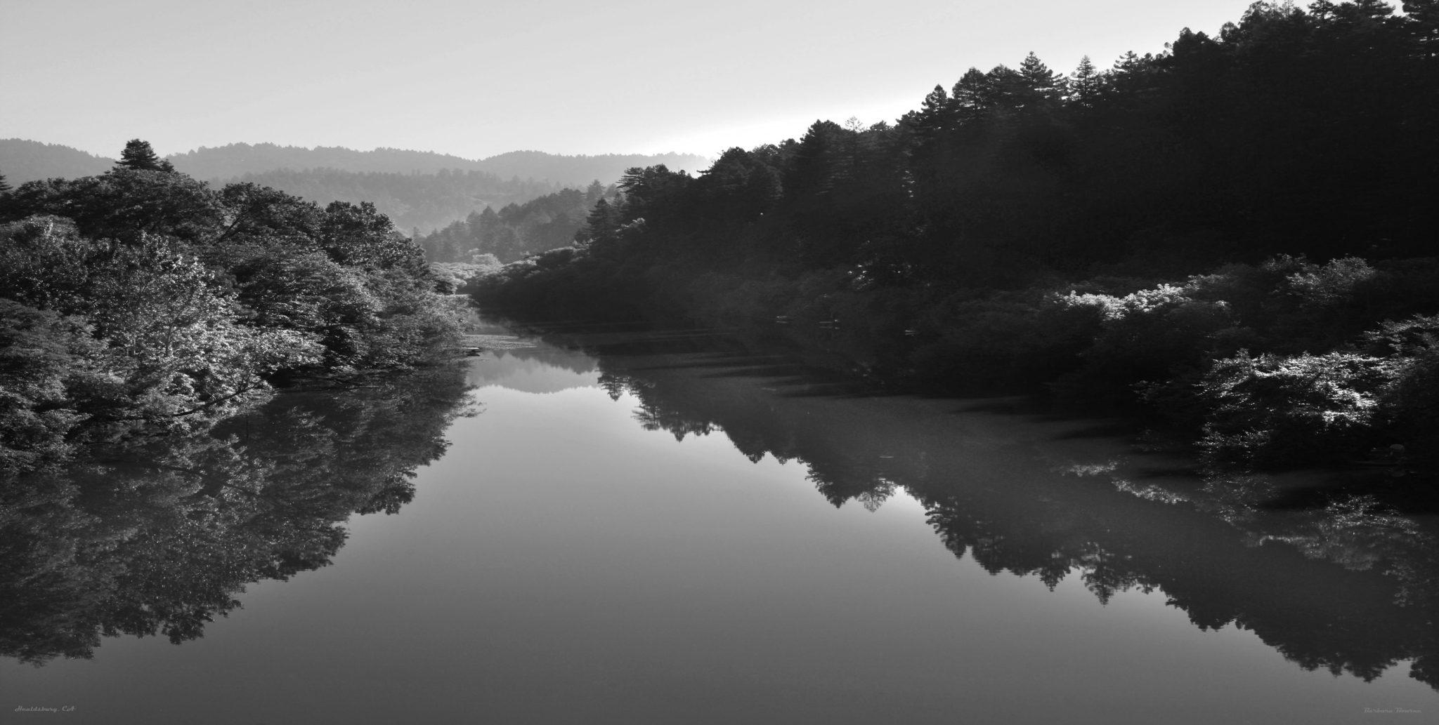 Russian River in Healdsburg, CA Black and White