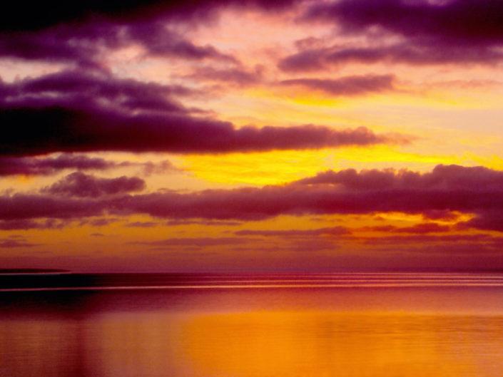 calm ocean with purple skies