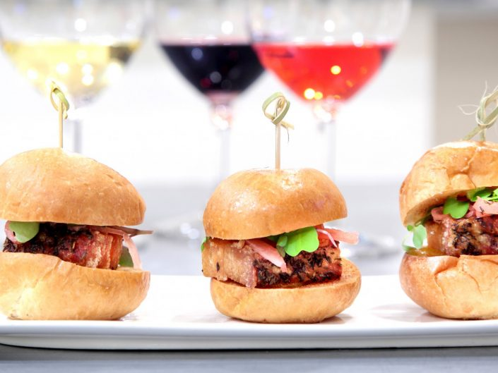 sliders and wine