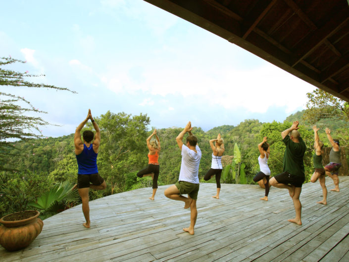 yoga class on jungle platform