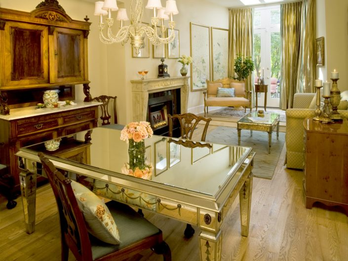 Victorian Living Room with Mirrored Table