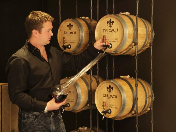 Decanting wine from the barrel